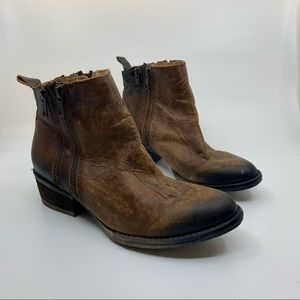 Circle G brown worn look double zip leather boots
